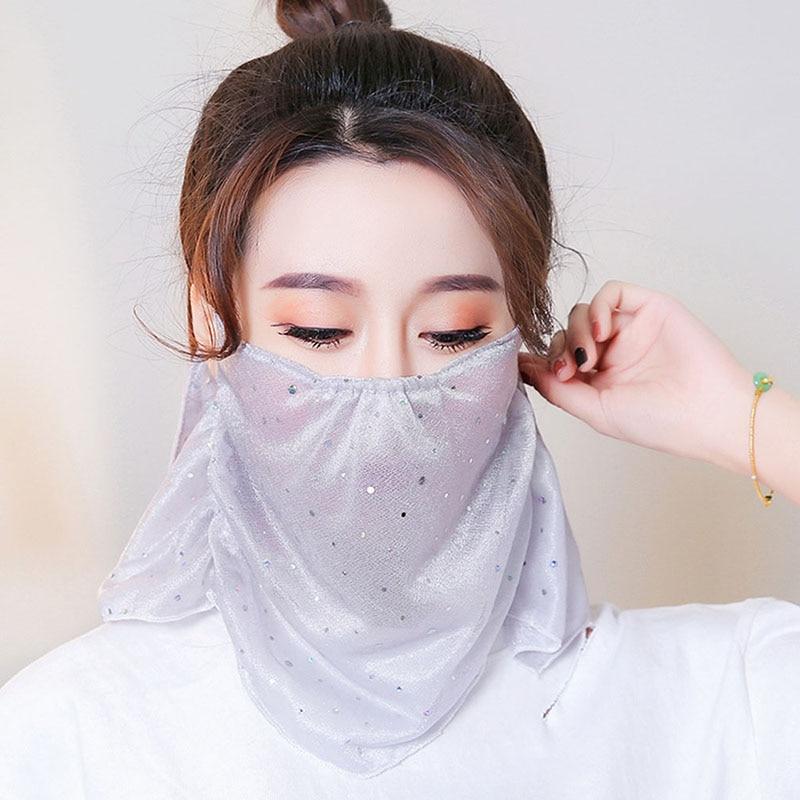 Fashion Female Concealer Mask Sunscreen Outdoor Neck Full Anti-UV Thin Veil Genuine Breathable Summer Sun Mask