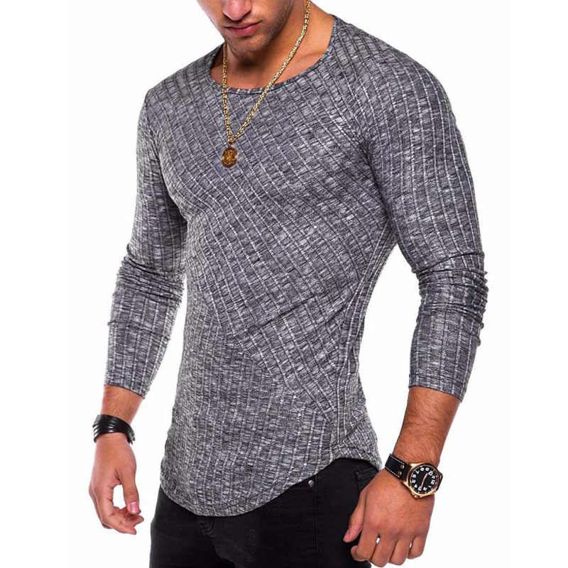 2019 Spring Autumn Slim Fit Sweater Men Thin Knitted Pullover Men Casual Solid Mens Sweaters Pull Homme Plus Size S-4XL J738
