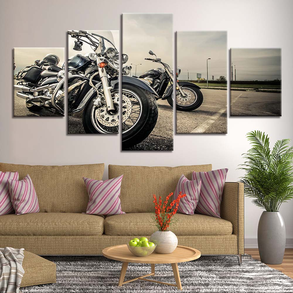 Large Canvas Print Classic Silver Motorbike 5 Panel Canvas Wall Print Classic Motorbike Printable Wall Art Classic Motorcycle Office Decor
