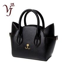 التصميم الشهير جميل المرأة جاكيت جلدي مقبض حقائب كتف أنثى لطيف القط رسول حقائب سيدة صغيرة اليد هدية رائعة