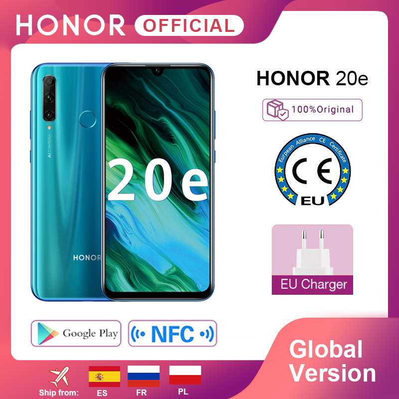 Global Version Honor 20e 20 e <font><b>Smartphone</b></font> Kirin 710 Octa Core 6.21'' <font><b>4GB</b></font> <font><b>64GB</b></font> triple Camera Moblie Phone google Play <font><b>Android</b></font> image