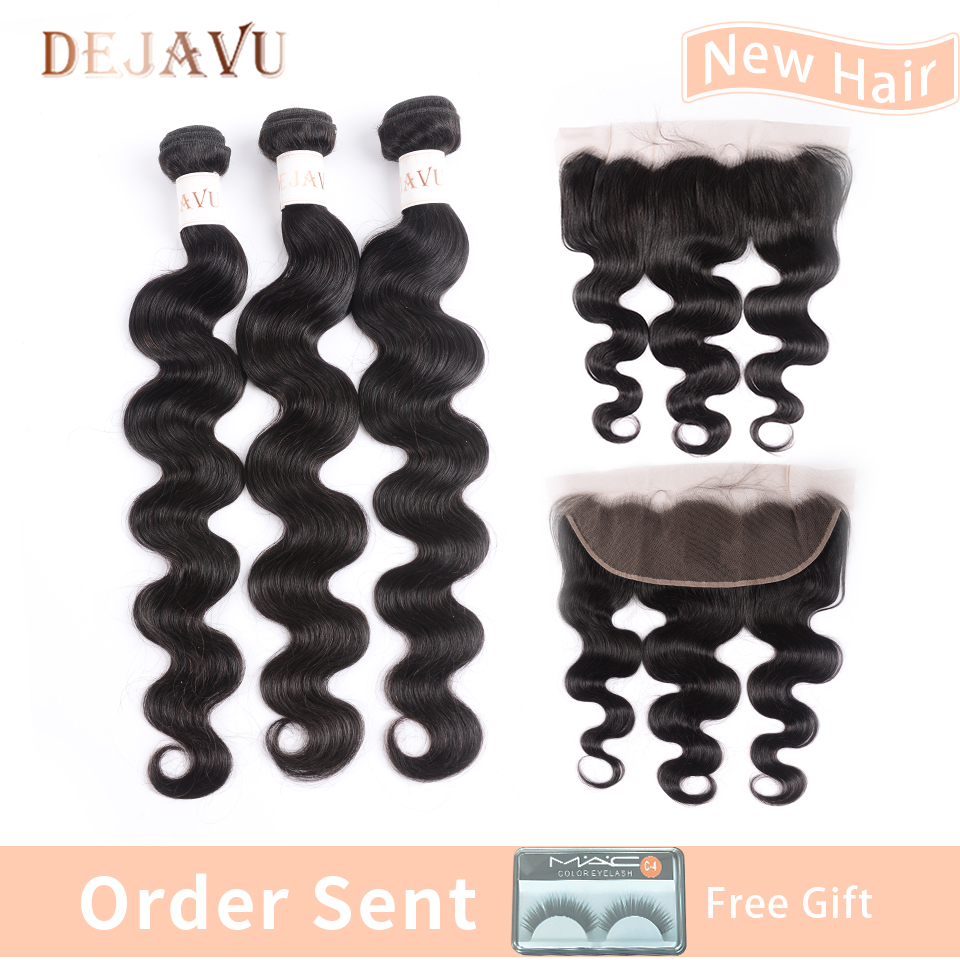 13x4 Frontal With Bundles Peruvian Body Wave Human Hair Bundles With Lace Frontal Closure Non Remy Hair Extension Dejavu Hair