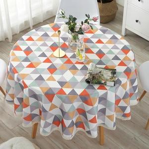 Image 5 - Mantel de mesa redondo Pastoral impermeable Floral/dibujo de cuadros borde de encaje fundas de mesa de poliéster contra el calor manteles de café a prueba de aceite