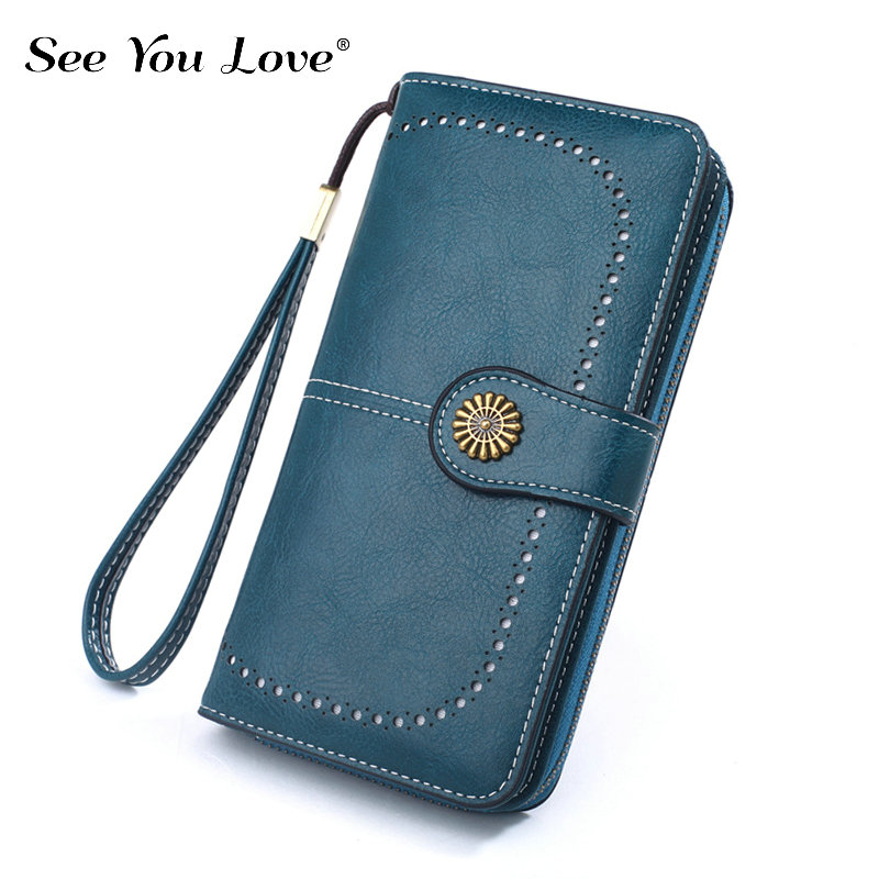 2019 New Retro Long Purse Ladies Wallet Women Luxury Brand Hasp Fashion Zipper Leather Purses Female Wallets Woman Card Holder