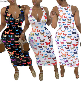 CM.YAYA Women Butterfly Print Sleeveless V-neck Bodycon Mid-calf Length Dress Sexy Party Club Midi Bandage Pencil Dresses
