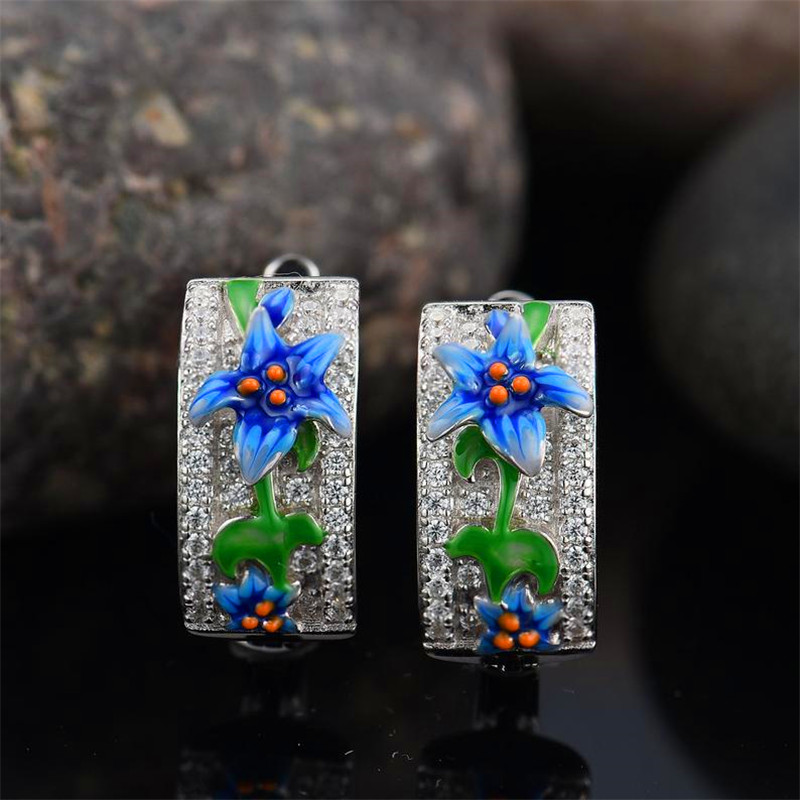 Charm Blue Enamel Flower Earrings Silver Color Cute Star Hoop Earrings For Women Ladies Round Crystal Wedding Ear Jewelry Cz
