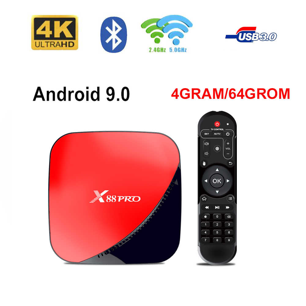 LEMFO X88 PRO TV BOX Android 9.0 4G 64G WIFI 2.4G/5G Rockchip RK3318 4K Support Bluetooth  4.0 HDMI 2.0 YouTube Smart TV Box