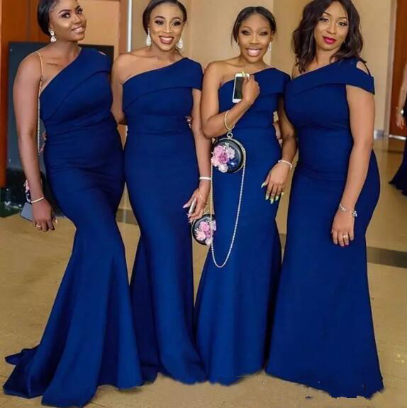 Royal Blue   Bridesmaid   Dresse One Shoulder Mermaids Sweep Train Simple African Country Wedding Guest Gowns Maid Of Honor   Dress