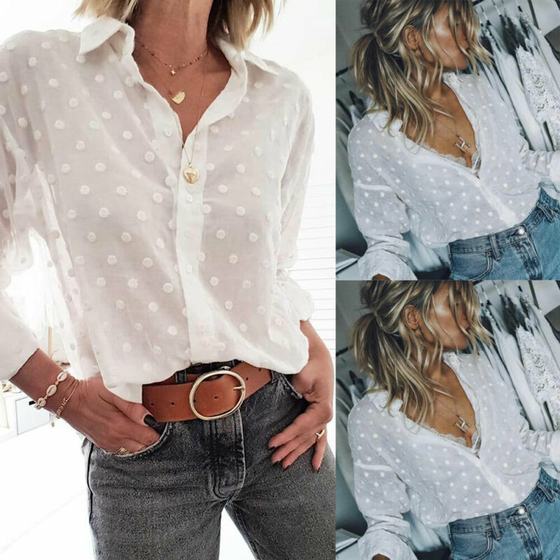 Women Sexy Polka Dot Blouses Ladies V-neck Long Sleeve Shirt Casual Tops Loose Blouse Plus Size Summer Fashion New S-2XL