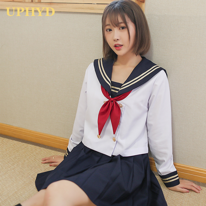 White 2 Lines Japanese Girl School Uniforms Middle High School Girls Sailor Suits Novelty Japan Student Uniform