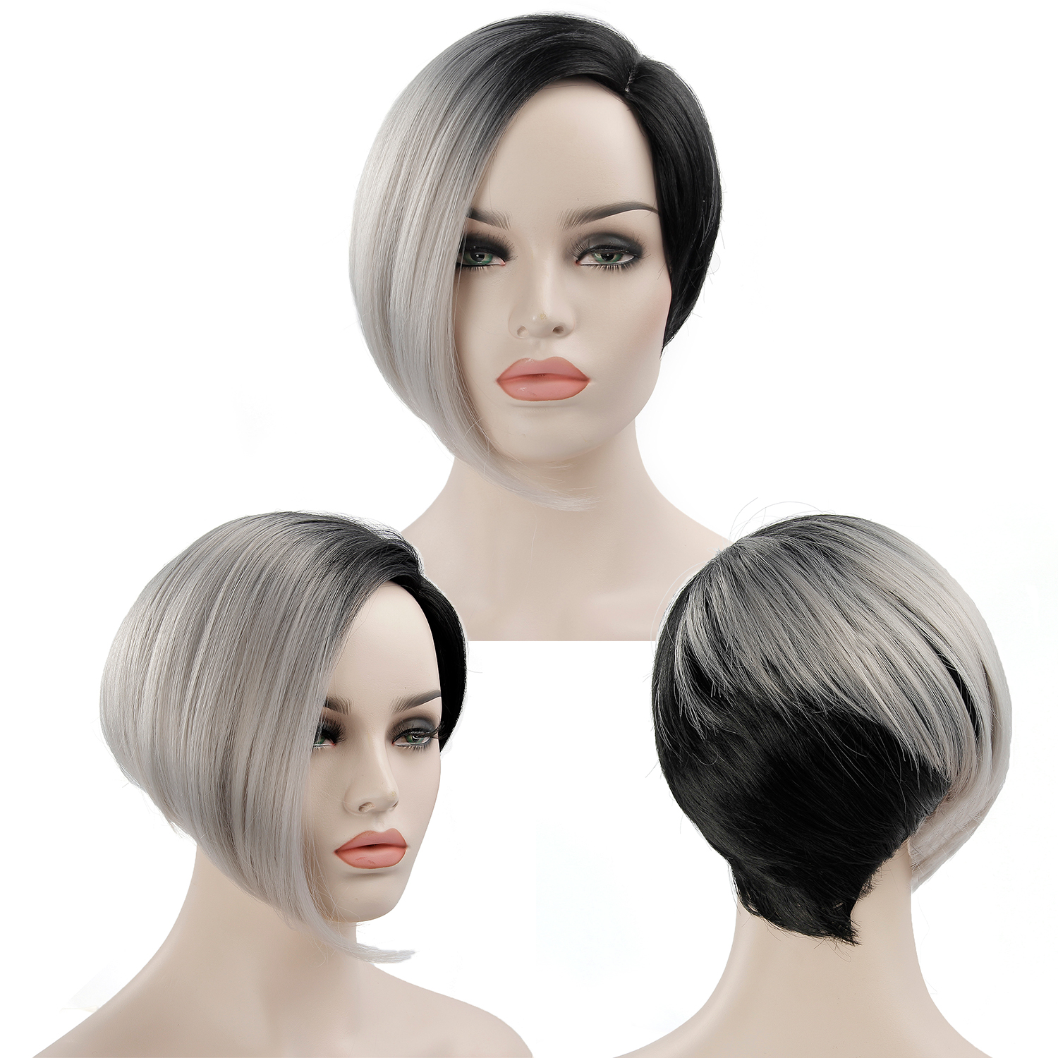 Short Black Wigs For Women Synthetic Hair Wigs Female Heat Resistant Fiber Color Ombre Grey Wig Cosplay