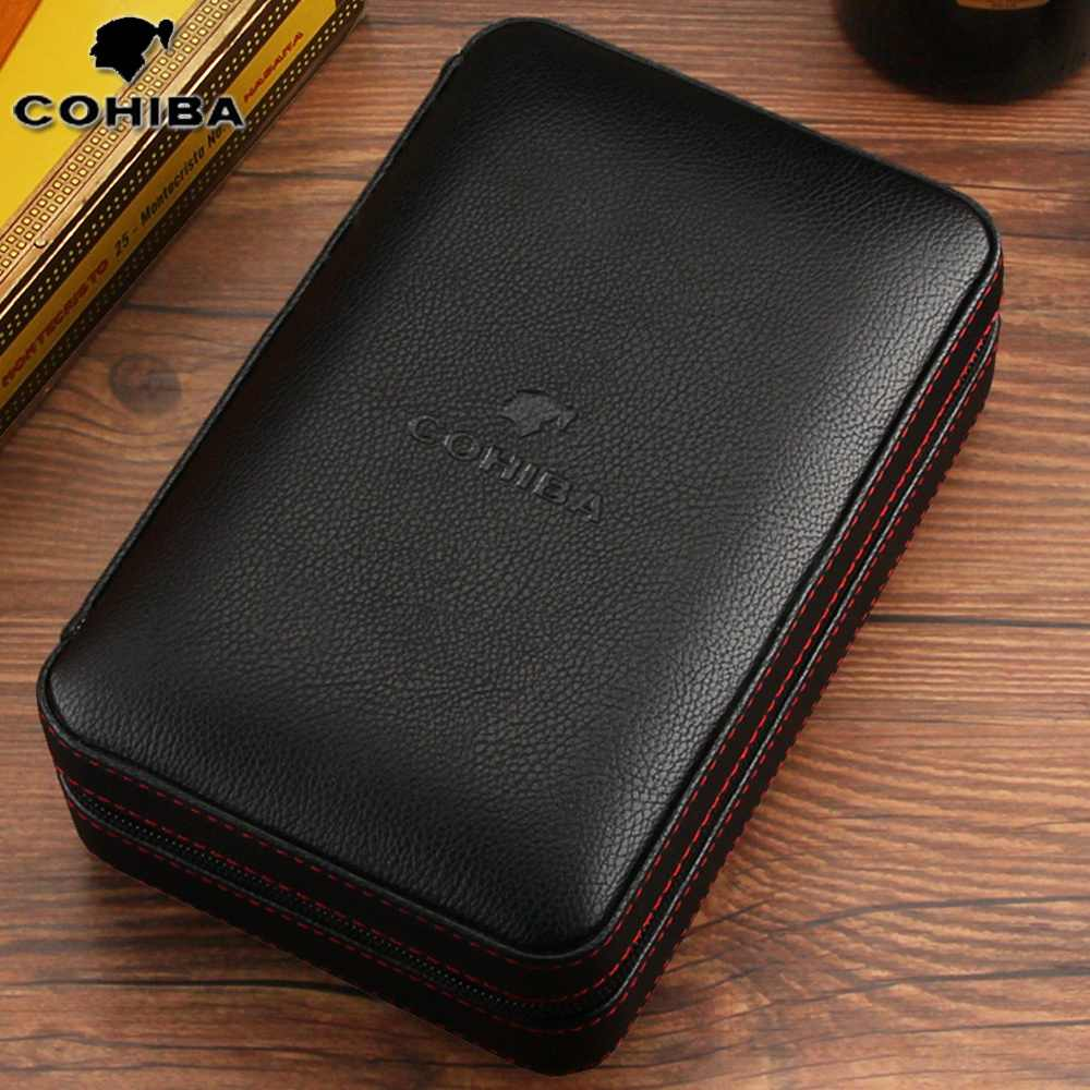 Cohiba Cigar Humidor Case Portable Kayu Cedar Leather Travel Humidor Humidifier Set Kotak Hadiah (Tanpa Lebih Ringan Cutter)