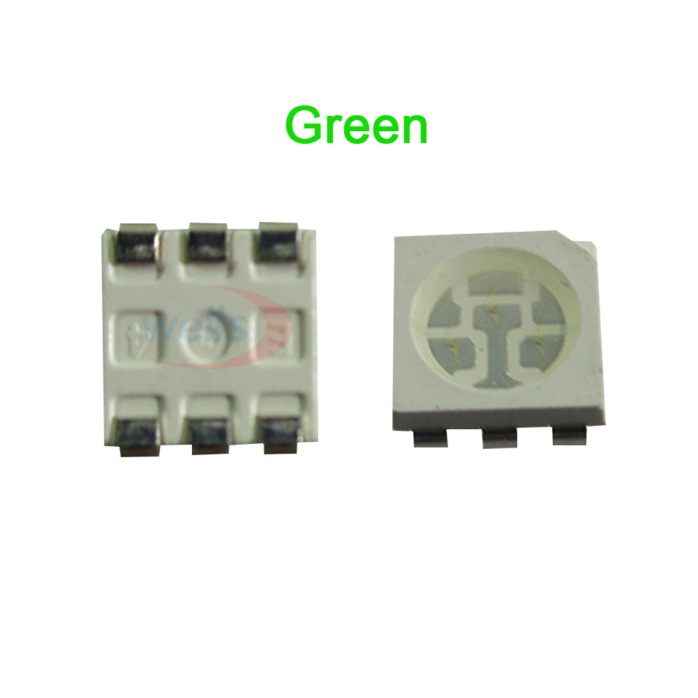 1000 pcs Green color PLCC-6 505~507 5050 SMD 3-CHIPS led chip Strip Light Lamp beads