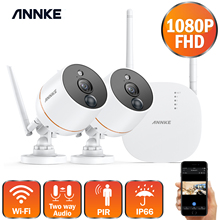 ANNKE 1080P 4CH FHD мини беспроводная система видеонаблюдения Wifi 2шт 2МП ip камера Двусторонняя аудио PIR домашний комплект системы видеонаблюдения