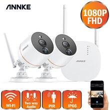 Annke 1080p 4ch fhd mini sistema de vigilância por vídeo sem fio wifi 2 pces 2mp ip câmera bidirecional de áudio pir kit de cctv de segurança em casa