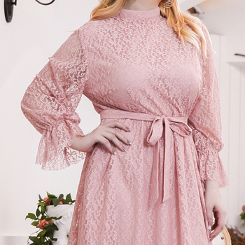 Siskakia Sweet Pink Lace Elegant Long Dress Plus Size Mandarin Collar Flare Long Sleeve Maxi Dresses Evening Party Spring 2020 3