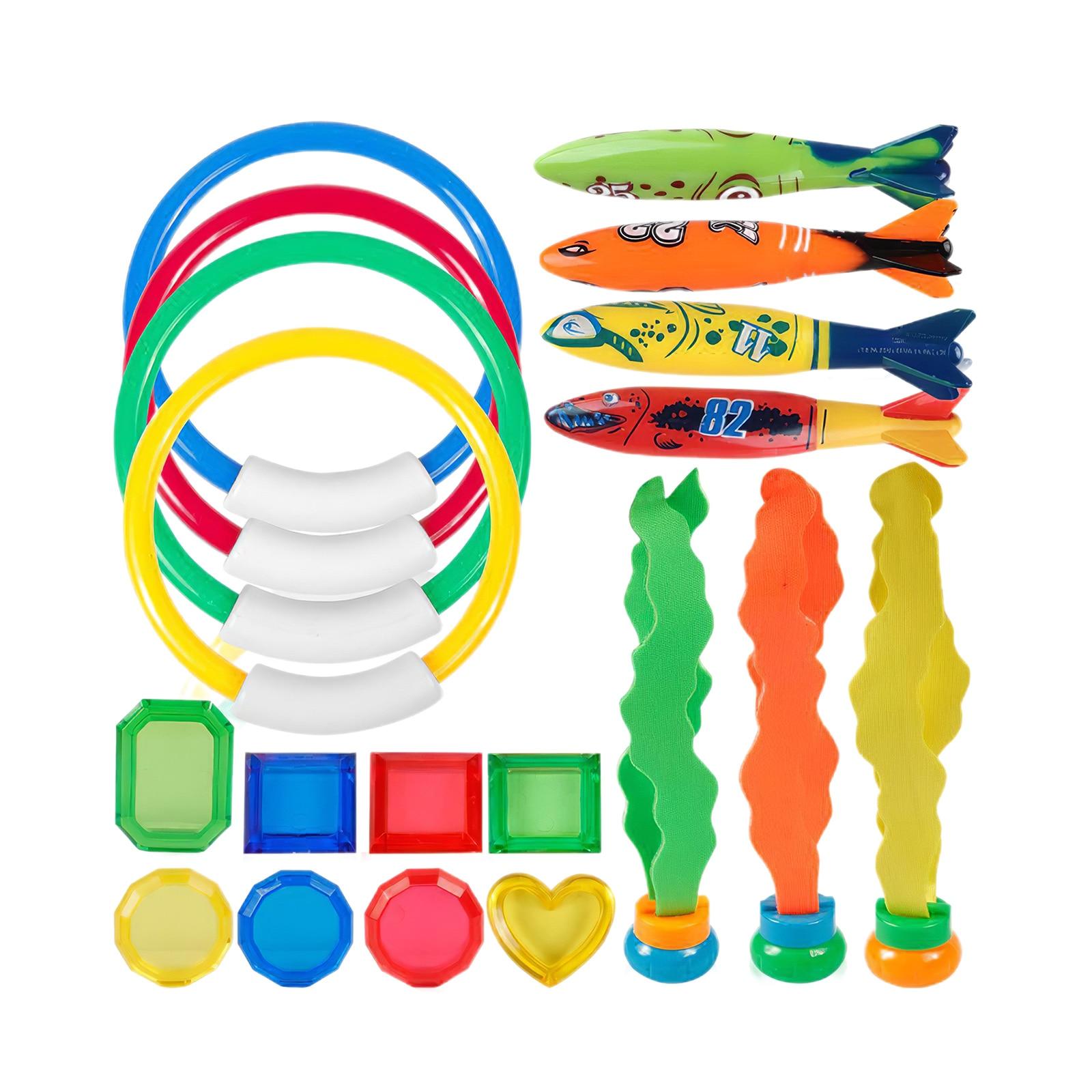 19pcs/Set Swimming Treasures Colorful Games Diving Bath Toys Waterproof Swimming Pool Toys Torpedo Fish Bones Rings Rods Seaweed