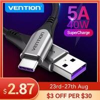 Vention-Cable USB tipo C de carga rápida, Cable de datos de 40W para Huawei Mate30 P30 P40 de tipo profesional