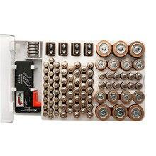 Interruptor de armazenamento de bateria organizador titular com testador-bateria caddy rack caso caixa suportes incluindo verificador de bateria para aaa aa c