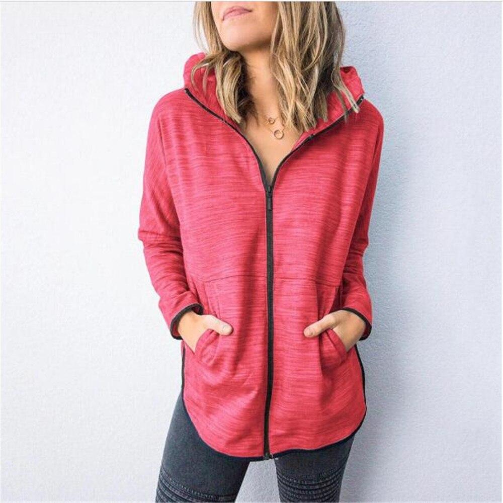 Fashion Spring 2020 Women's Pure Color Zipper Hooded Long Sleeve Sweatshirts Casual Loose Sweatshirts