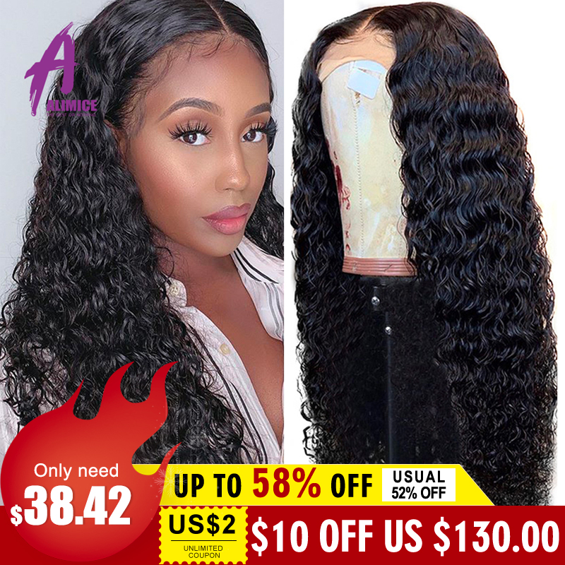 13x4 Brazilian Hair Deep Wave Lace Front Wigs 8-24 Glueless Curly Lace Front Human Hair Wigs Alimice Remy Wig For Black Women