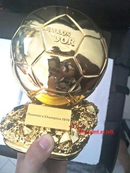 Hot Sale Football Ballon DoR Trophy  Golden Ball  Trophy Final Shooter Players Electroplated Golden Ball Cup  Award Free Print