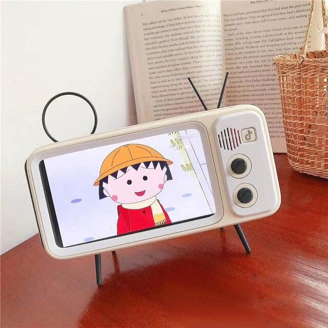 חדש רטרו טלוויזיה נייד טלפון מחזיק Stand עבור 4.7 כדי 5.5 אינץ Smartphone Bracket עם אלחוטי Bluetooth רמקול נגן מוסיקה אודיו