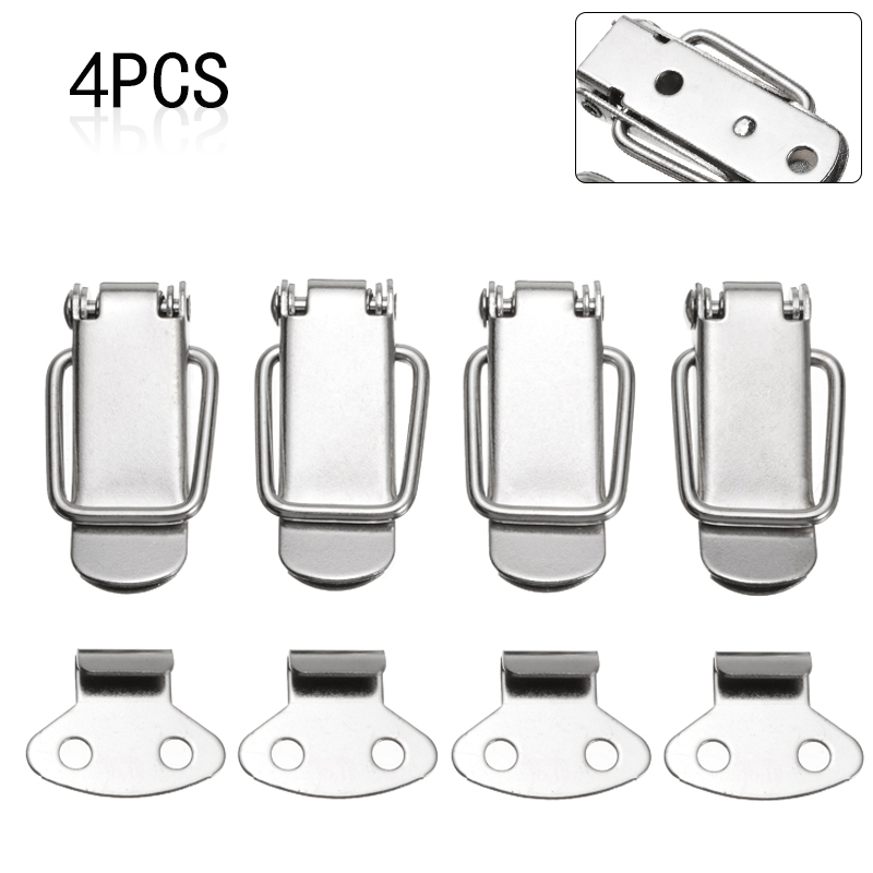 4Pcs Latch Catch Clamp Clip Metal Spring Toggle Latch Catch Clasp For Case Cabinet Lock Box Silver