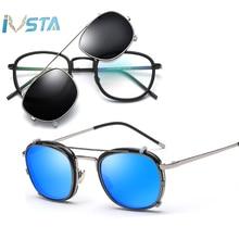 IVSTA Polarized Sunglasses Men Clip On Glasses Women Flip Up Removable Lens Sun for Sight Prescription Optical Frames