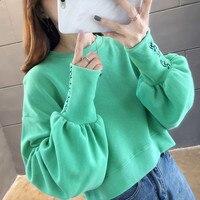 Real photo Velvet short style long sweatshirt 2019 letter print crewneck pullover tops long sleeve shirts women autumn