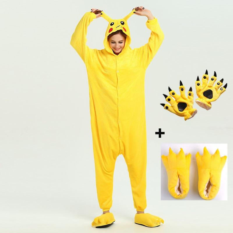 Kigurumi Unicorn Pajama Adult Animal Pikachu Onesie Women Men Couple 2020 Winter Pajamas Suit Stitch Sleepwear Flannel Pijamas