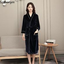 Robes Kimono Homewear Couples Long-Sleeve Lace-Up Winter Womens Simple Pocket Velour