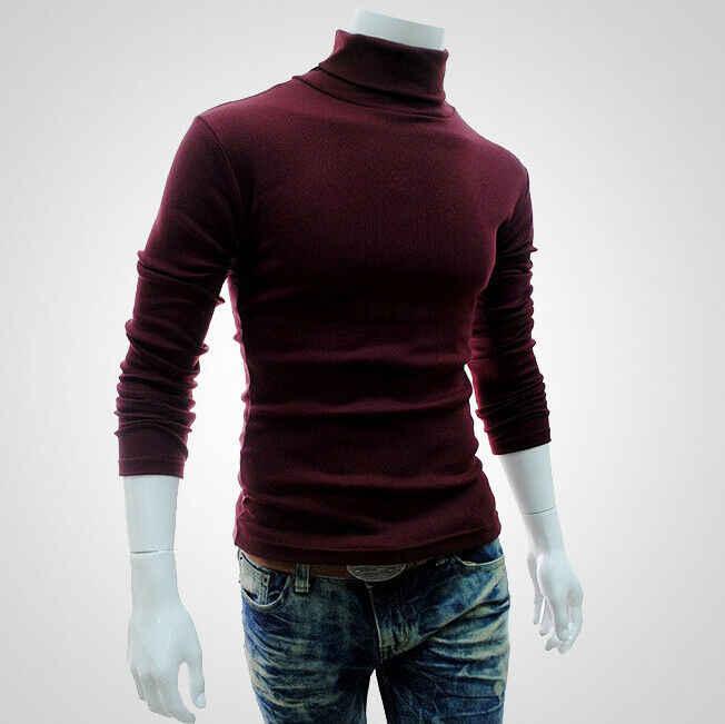 새로운 트렌디 남성 슬림 따뜻한 코튼 하이 넥 풀오버 점퍼 스웨터 니트 일반 인과 톱 터틀넥 스웨터 가을 겨울
