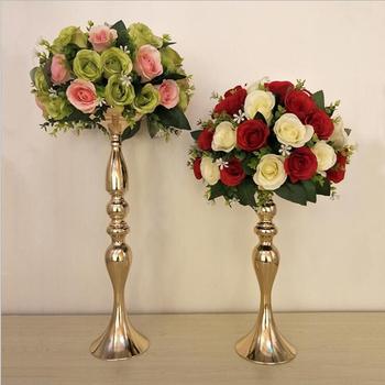 Złoto srebro świeczniki 50cm 20 #8222 metalowy świecznik wazon na kwiaty ozdoba na środek stołu wydarzenie stojak na roślinę doniczkową ołowiu drogowego wesele wystrój tanie i dobre opinie Home Decoration ZT012 Świeczka zapalana zapałką Uchwyt na świecznik Europejska iron