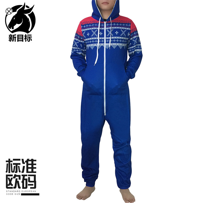 Christmas Thick Onesie 2019 Winter Snowflake Printing Plus Velvet Tracksuit Long Sleeve Hooded Couples Foreign Trade Clothing