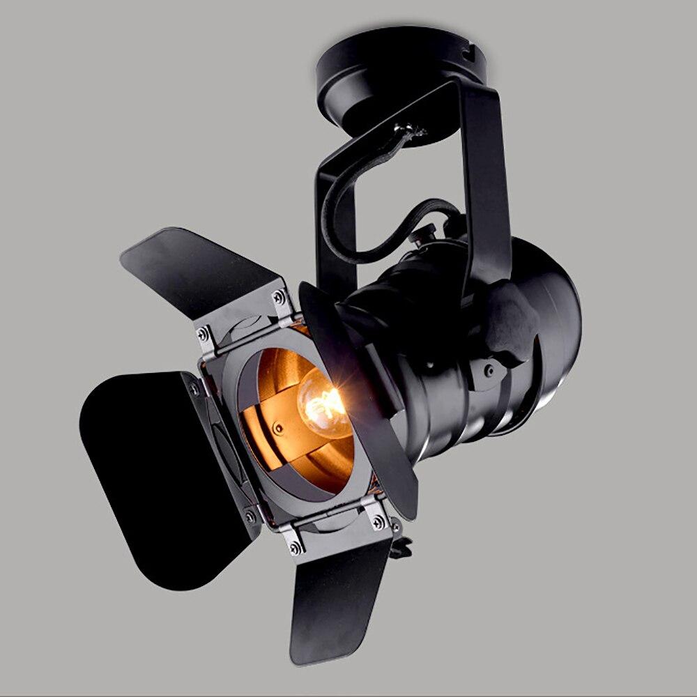 Vintage E27 Spoor Licht  Loft Industriële Spotlight Rail Licht  Zwart Spoor Lamp Met Barndoor  kleding Winkel Winkel Verlichting-in Spoorverlichting van Licht & verlichting op title=