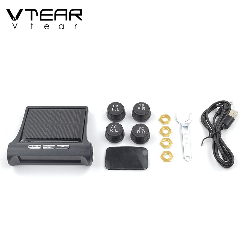 Image 4 - Vtear Car TPMS universal Smart Tyre Pressure Monitoring System Solar Power Digital LCD Display Auto Security Alarm Systems partsTire Pressure Monitor Systems   -