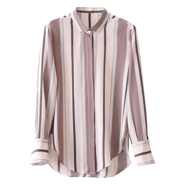 Spring Autumn Style Women Chiffon Blouses Shirts Lady Office Work Wear Stand Collar Striped Printed Blusas Tops DD8953 1