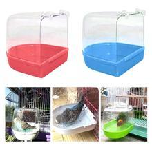 Durable Pet Bird Transparent Bathing Tub Bathtub Shower Box Hanging Cage Decoration