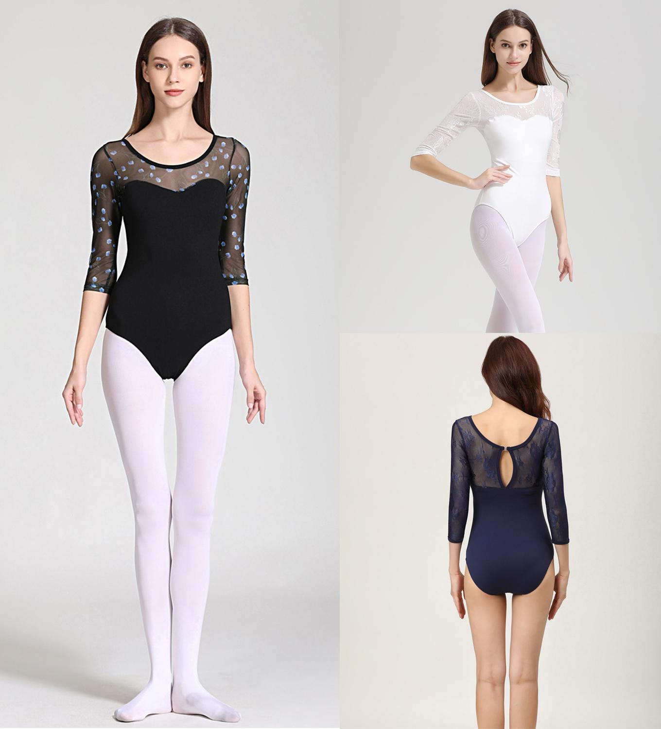 Adult Ballet Costume High Quality Medium Lace Sleeve Practice Dancing Leotards Women Lace Gymnastics Ballet Coverall