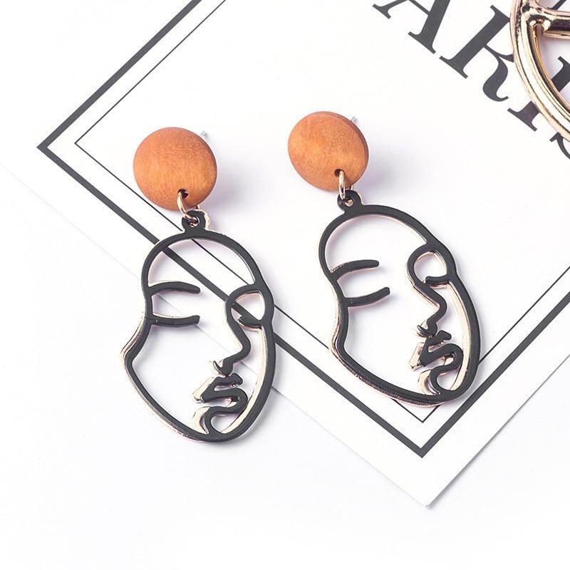 Korean Earrings for Women Statement Earrings Personality Double layer Face Contour Earrings Fashion Vintage Wood Earring Female in Drop Earrings from Jewelry Accessories