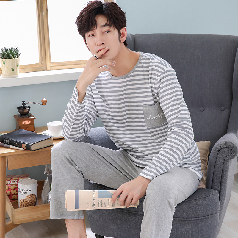 Pajamas Sleepwear Lounge Winter Cotton Men's Plus-Size 3XL Casual Autumn Letter Striped