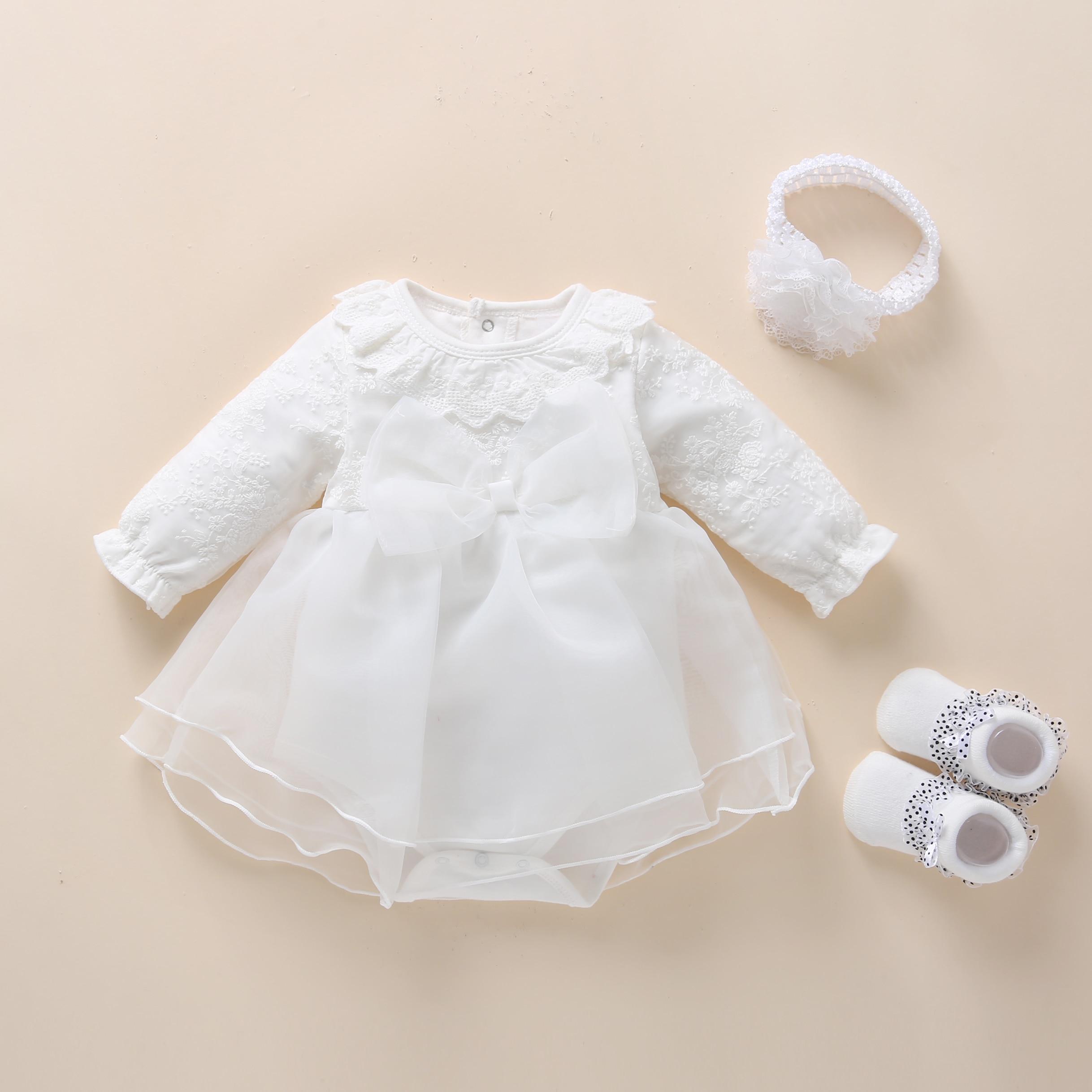 Белое платье для новорожденных, с длинным рукавом, на возраст 1 год