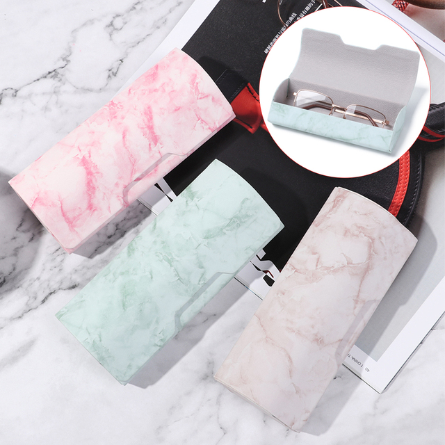 1Pc Marble Pattern Portable Magnetic Glasses Case Glasses Box Waterproof PU Eyewear Cover Sunglasses Cases Handmade Hot Sale