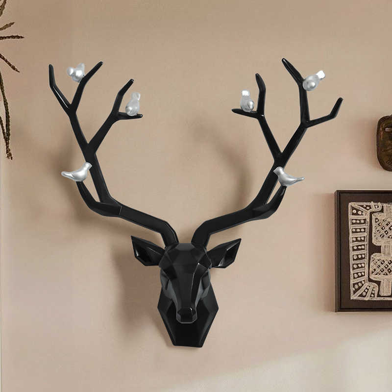 Resin 5d big deer head wall decor for home statue decoration accessories  Abstract Sculpture modern Animal head room wall decor