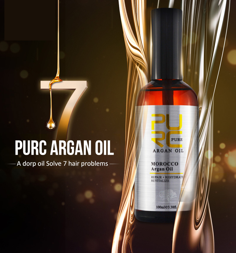 PURC Moroccan argan oil for hair care and protects damaged hair for moisture hair 100ml hair salon products