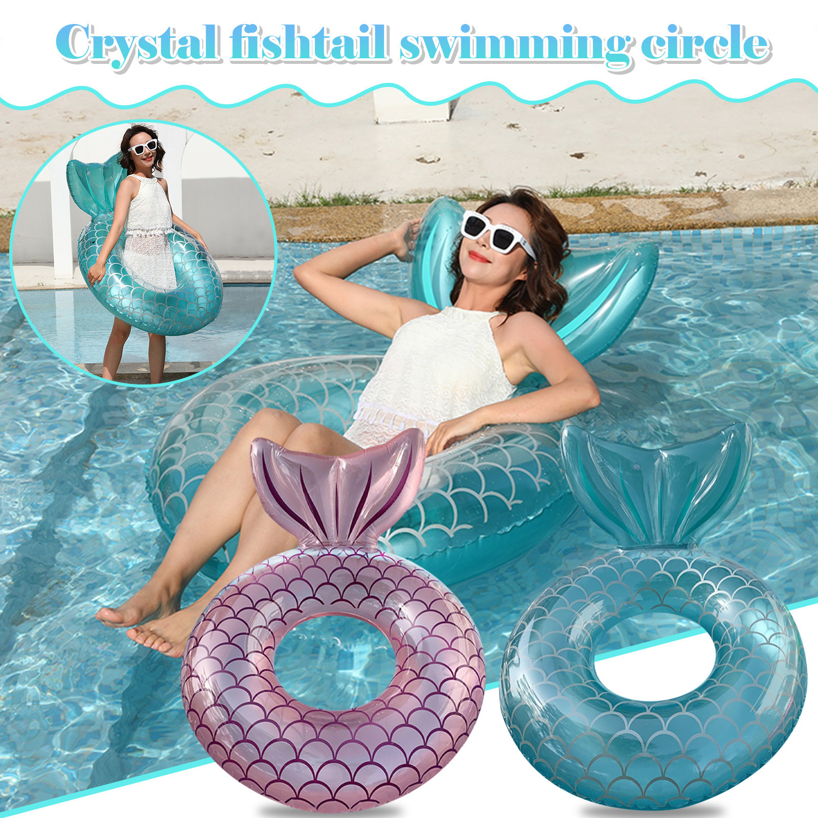 Giant Inflatable Mermaid Tail Pool Float With Fast Valves Summer Beach Swimming Pool Party Lounge Raft Toys For Adults Kids