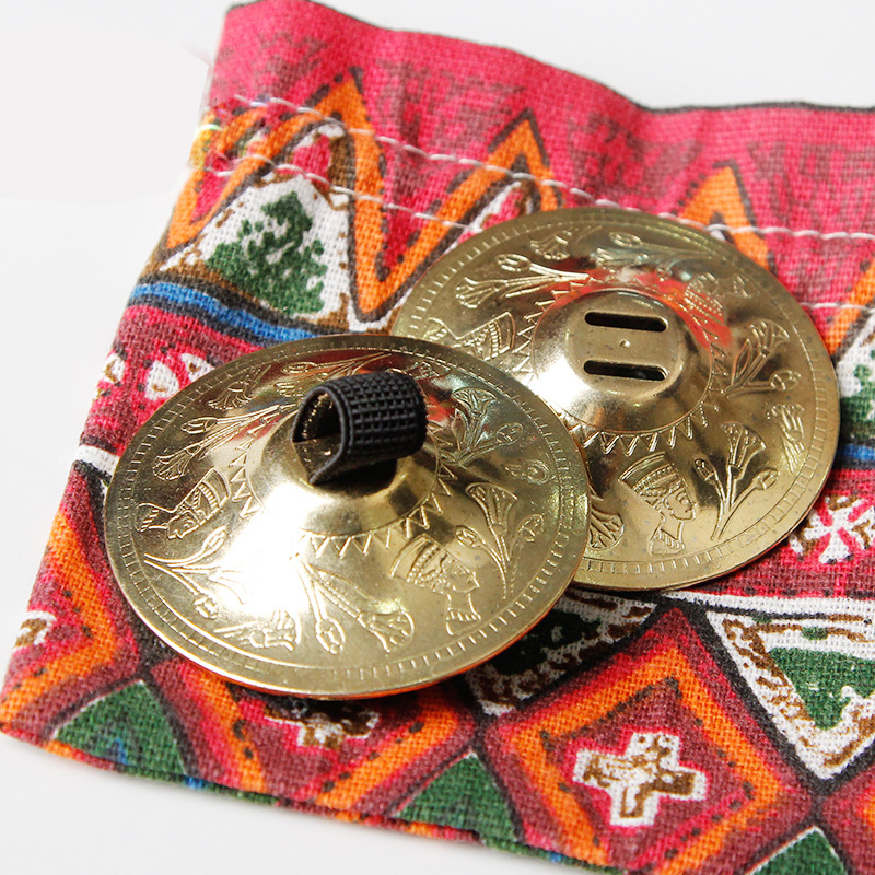2 Pair SAROYAN Nefertiti Women Belly Dance Accessories Finger Cymbals BRASS Belly Dance Zills