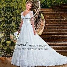 Прозрачные тюлевые Бальные платья принцессы, свадебные платья с длинным рукавом, свадебные платья невесты на заказ с аппликацией, платье невесты