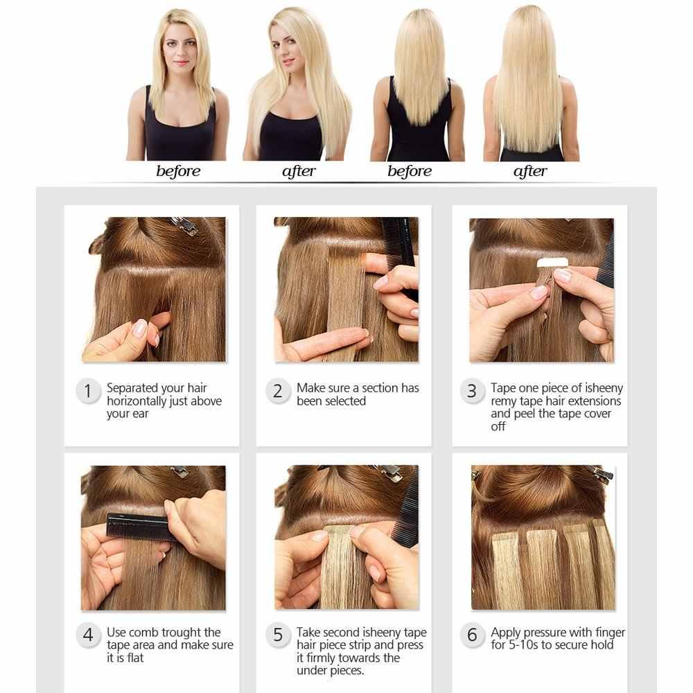 "EVAGLOSS המכונה Weft עור רמי קלטת שיער טבעי הרחבות 20pcs 40pcs 80pcs דבק קלטת בתוספות שיער 12 ""/14""/16 ""/20"""